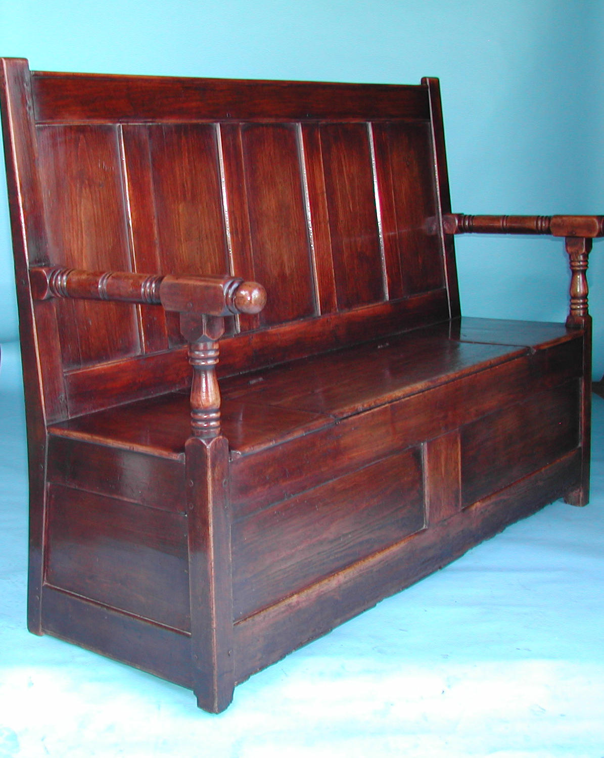 Antique 18thc Furniture Pine & Fruitwood Box Settle. English C1780-90