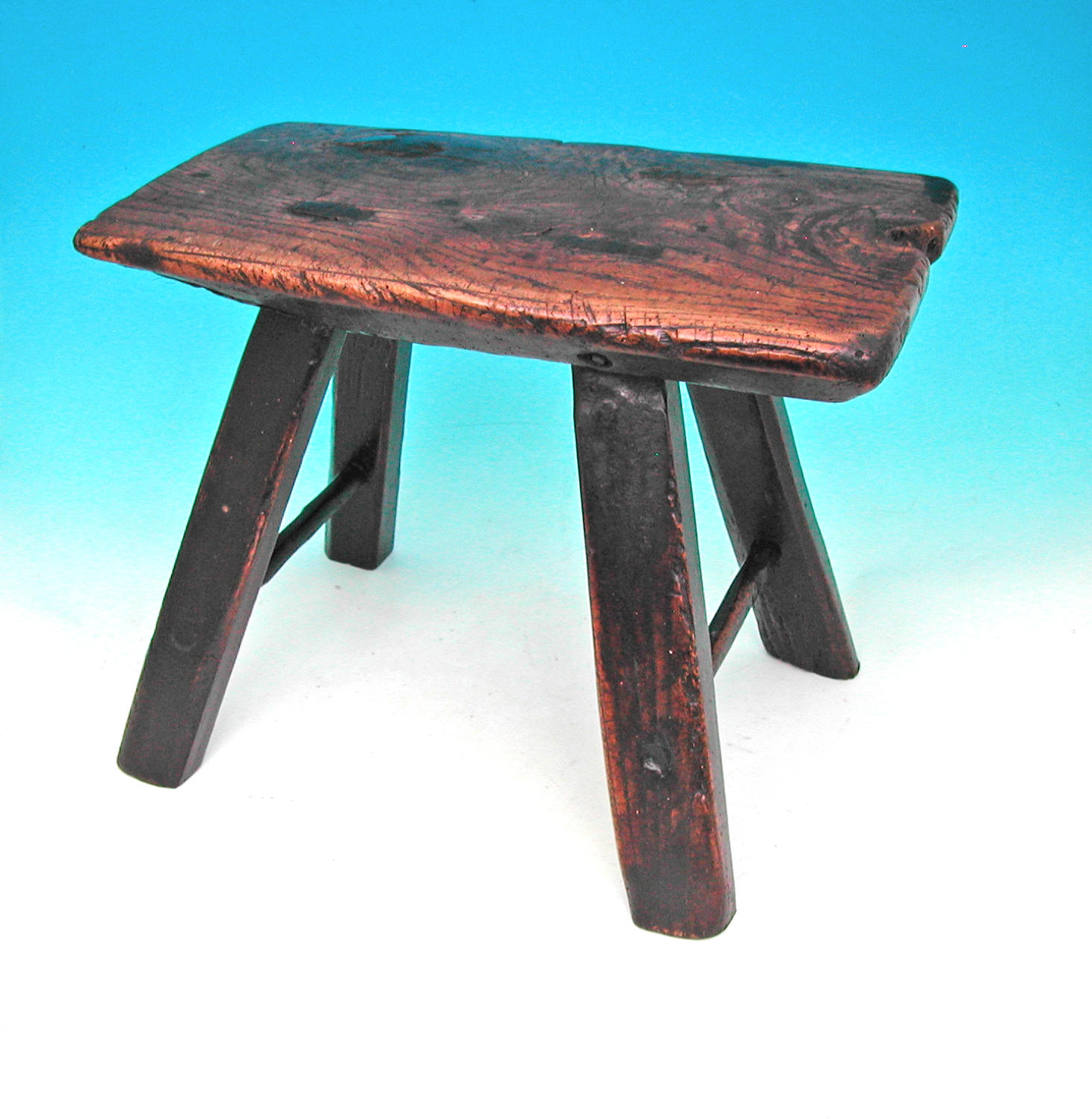 Antique Welsh Ash Four Legged Country Stool . Welsh. C1780-C1800