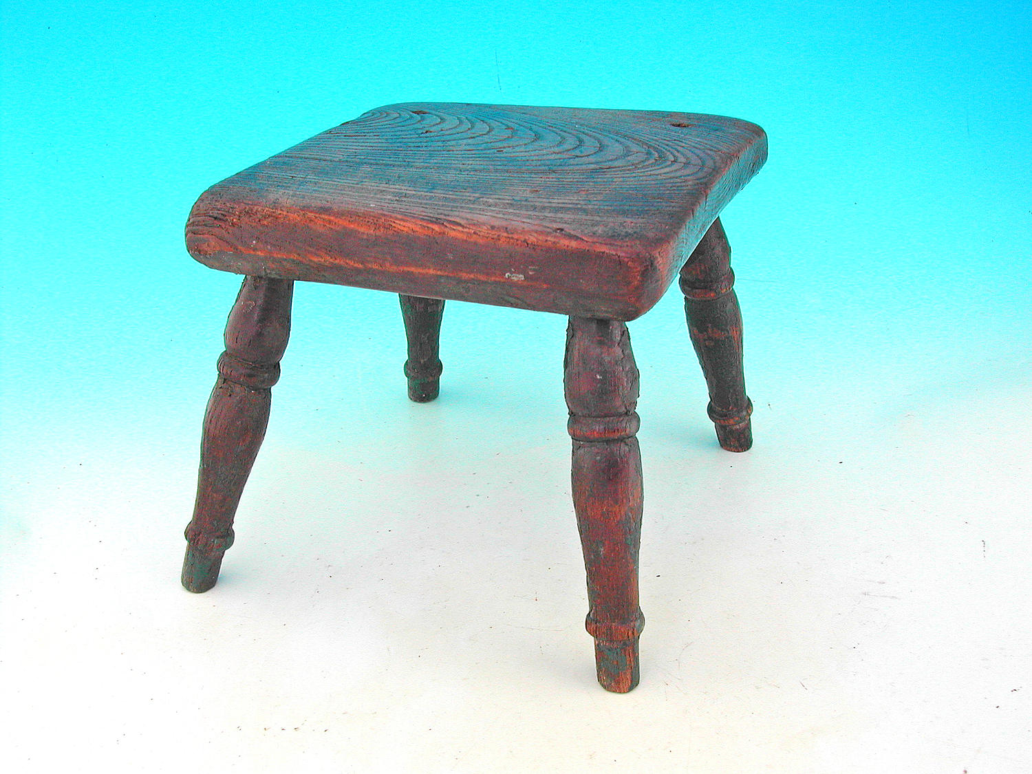 Antique Furniture 19thc Ash & Elm Painted Stool.  English  C1840 - 60