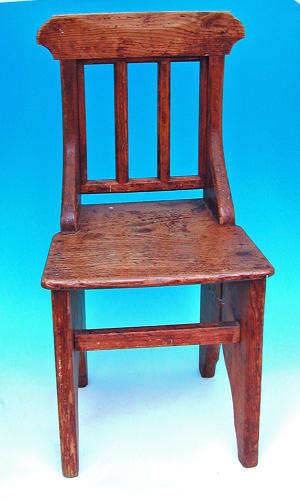 Late 18thc Antique Pine Welsh Childs Chapel Chair. Welsh C1780 - C1800