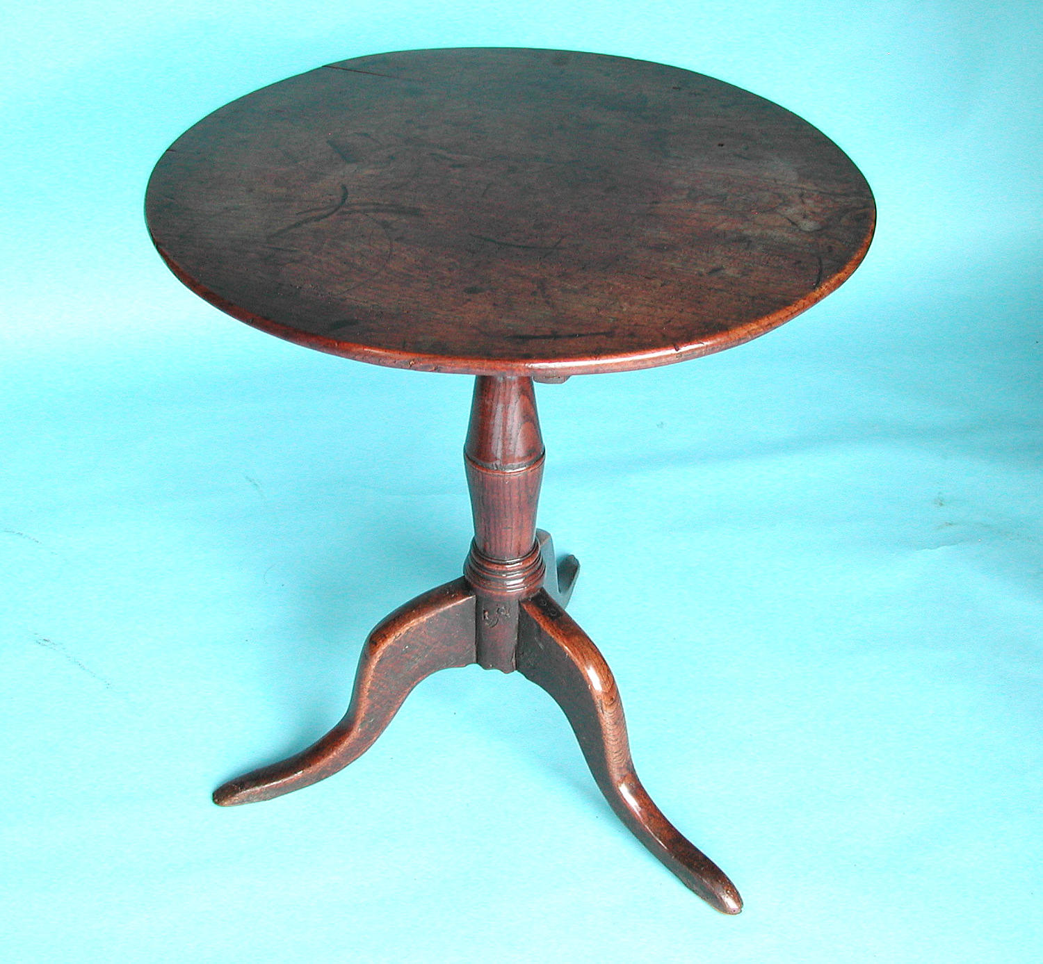 Antique Furniture 18thc Oak & Elm Tripod Table. English C1740 - C1760