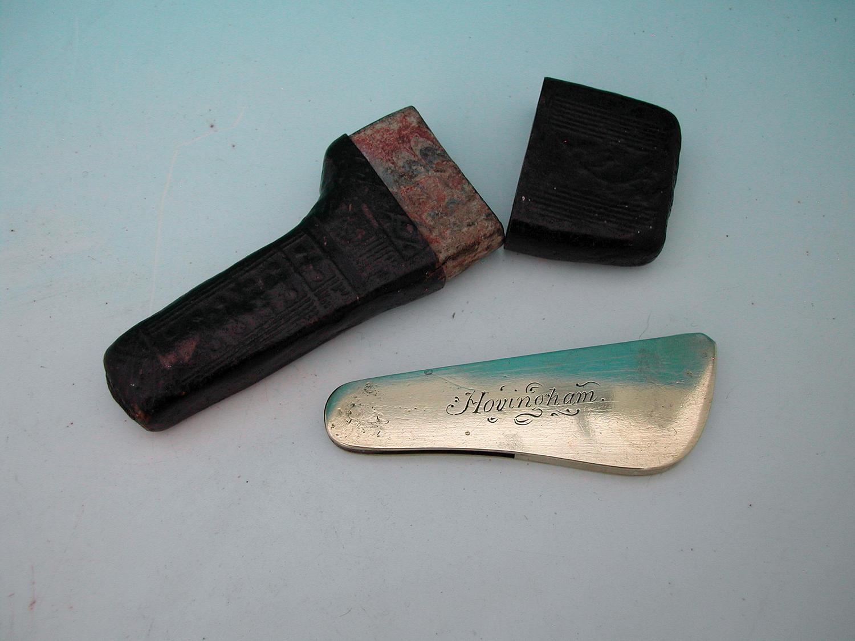 Antique 19thc Brass & Steel Fleam with Case. English C1820 - 30