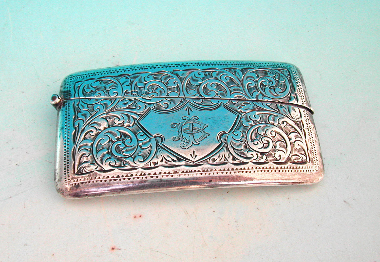 Antique 20thc Silver Birmingham Card Case. English C1918 - 19