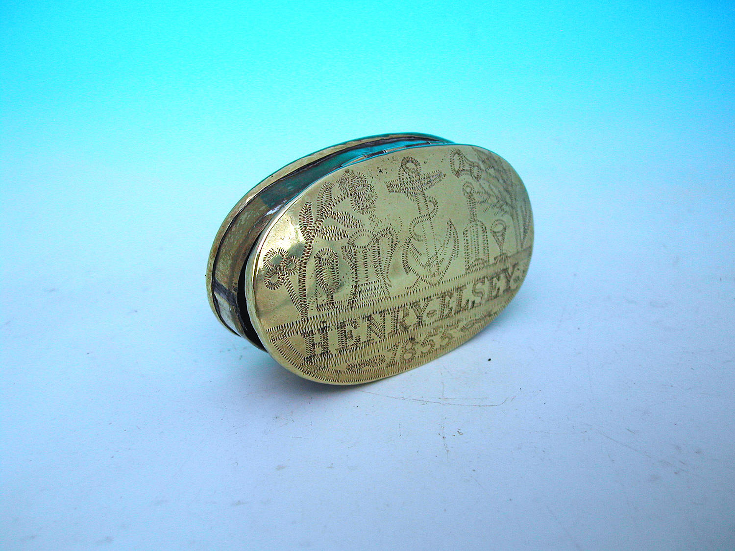 Antique 19thc Dated And Engraved Brass Snuff Box. English C1850 - 55