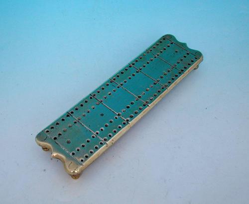 Antique 18thc Metalware Brass Cribbage Board. English C1780 - C1800