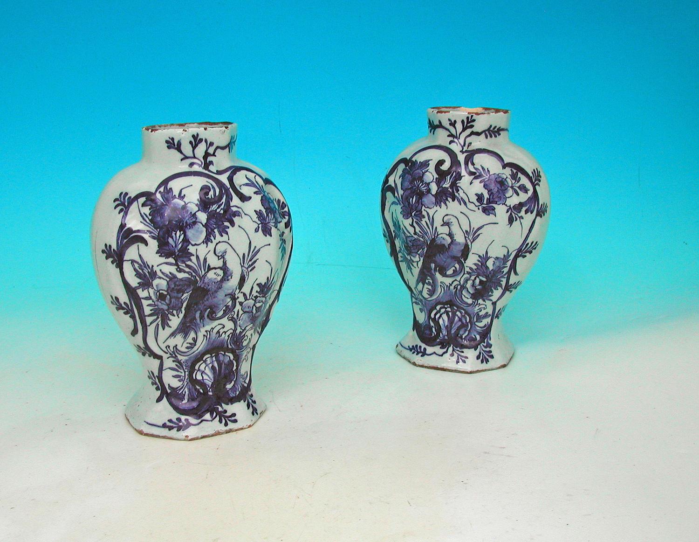 Antique Pottery 18thc Delftware Vases.  Dutch C1740 - 60