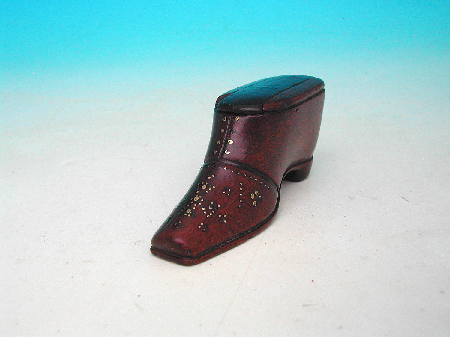 Antique 19thc Fruitwood Piquet Treen Snuff Shoe. English C1840 - 60