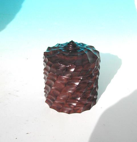 Antique Treen 19thc Engine Turned Ebony Lidded Pot. English C1860 - 80