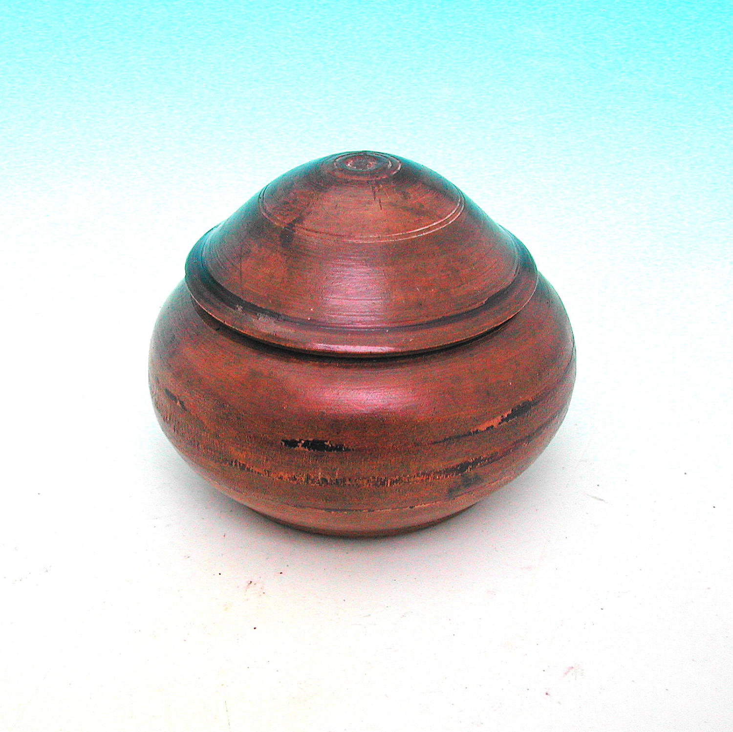 Antique 19thc Treen Sycamore Lidded Pot Dated 1849.  Scandinavian