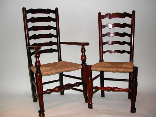 18thc Waveyline Set of Ash Ladderback Chairs.  English C1780 - C1800