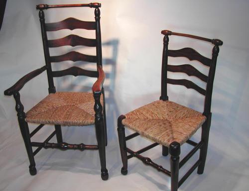 18thc set of Macclesfield Ash Ladderback Chairs. English C1780 - 90