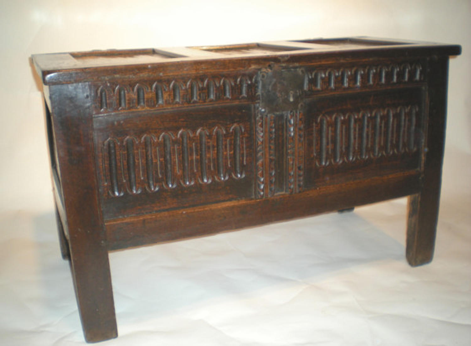 17thc Oak panelled Coffer. English C1630 - 40