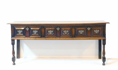 Late 17thc/18thc Oak Low Dresser. English C1690 - C1710