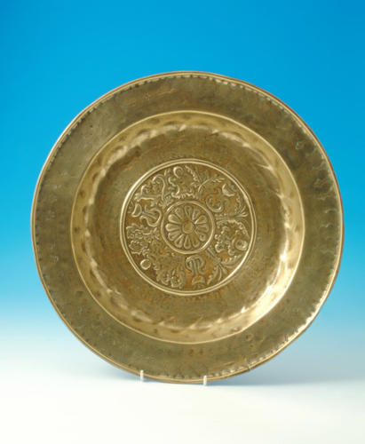 Early 17thc Brass Alms Dish with unusual pattern. German C1600