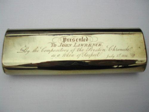 19thc Brass combination Tobacco Box. English C1840 - 60