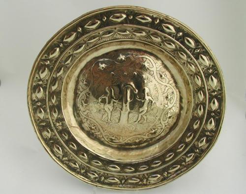 17thc Dutch Alms Dish, 'Adam & Eve'. Dutch C1680 - 90