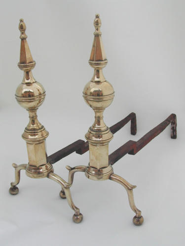 A fine pair of American Brass & Iron Andirons. USA C1810 - 20