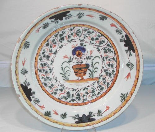 18thc Polychrome Delftware Charger. Dutch C1770