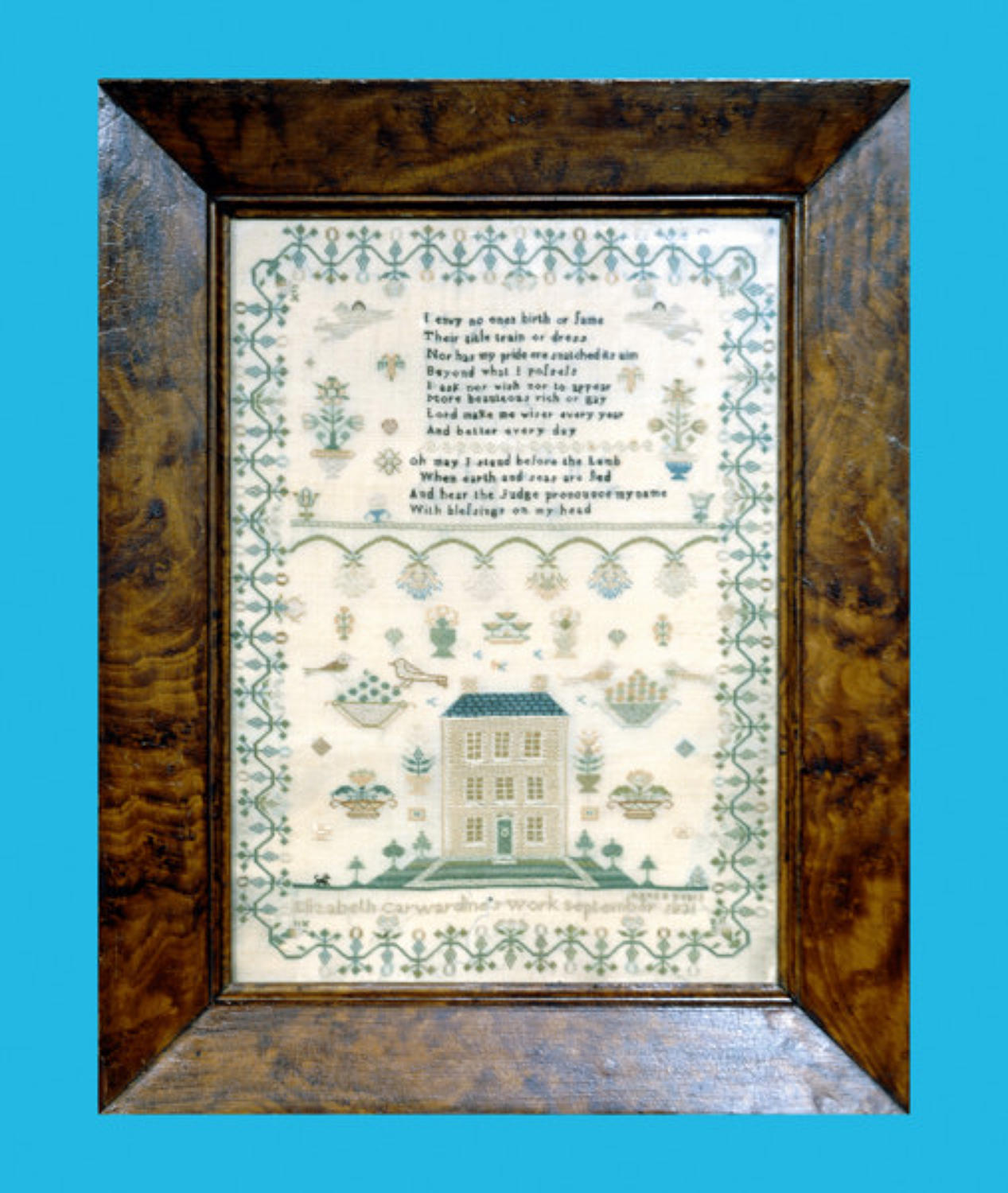 A very fine 19thc Georgian Needlework Sampler. English C1831