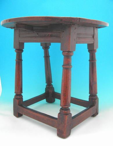 A rare 17thc Oak & Elm Joined Stool Table. English C1601 - C1700