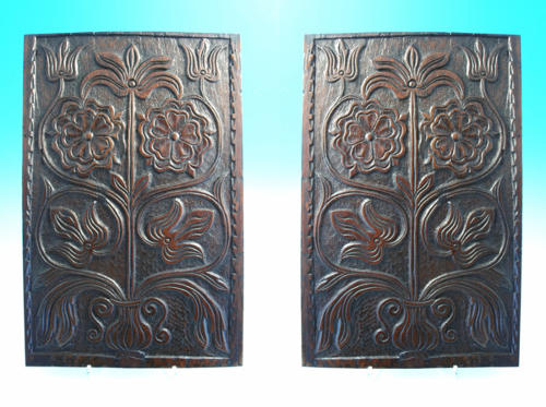 A fine pair of 17thc carved Oak panels. English C1860 - 80
