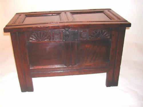 Pretty small early 17thc Oak panelled Coffer. English C1630 - 40