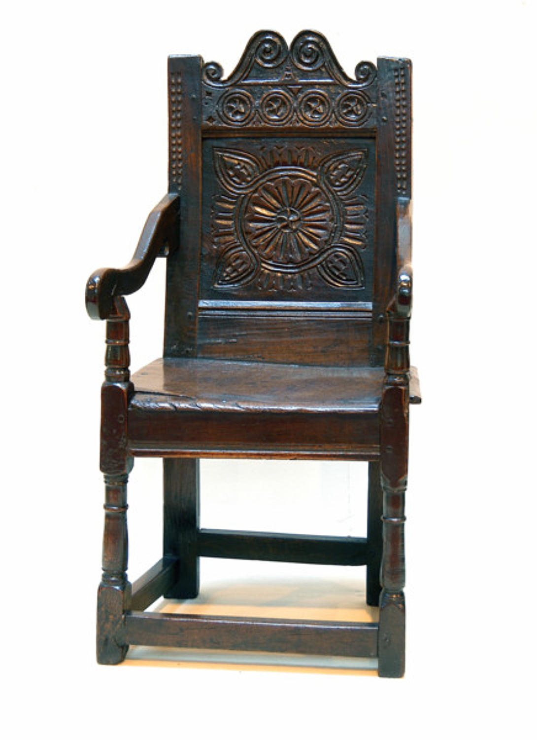 17thc Oak Wainscott Chair. English C1680