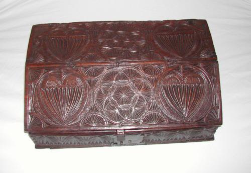 17thc chip carved Oak Desk. Welsh C1640 - 50