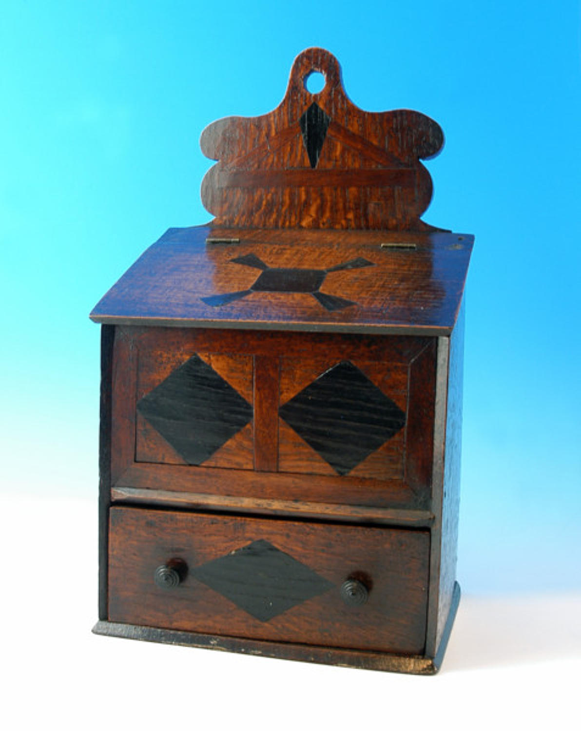18thc inlaid Candlebox. Welsh C1780 - 90