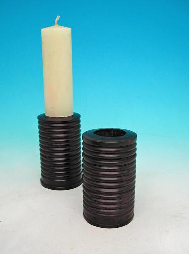 19thc Pair Of Lignum Vitae Turned Candlesticks. English C1820 - 40