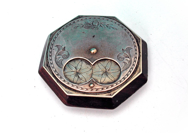 19thc Fruitwood & Brass Miser Snuff Box.  Scottish. C1840-60