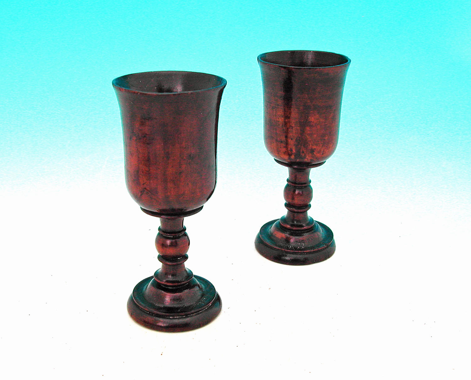 18thc Pair Of Fruitwood Drinking Goblets. English C1760-80
