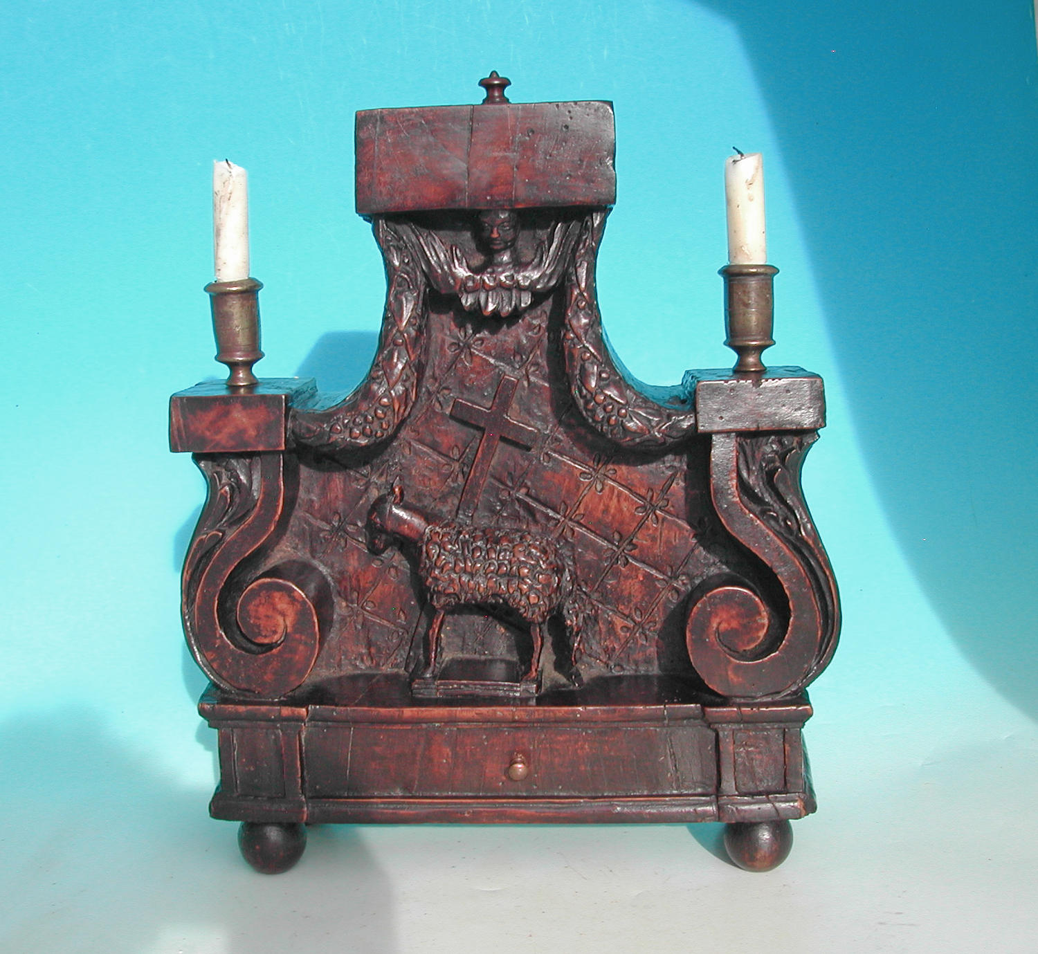 18thc Decorative Carved Walnut Candle Holder . Continental. C1740-60