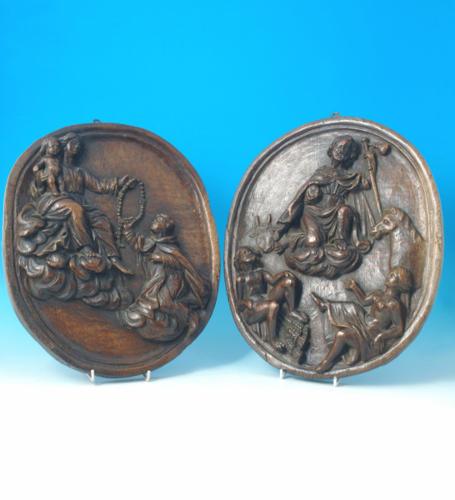 A pair of Oak carved panels depicting religious scenes. Belgium C1601