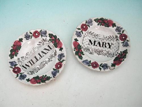 Antique Pair Of 19thc Pearlware Children's Minature Plates. English. C