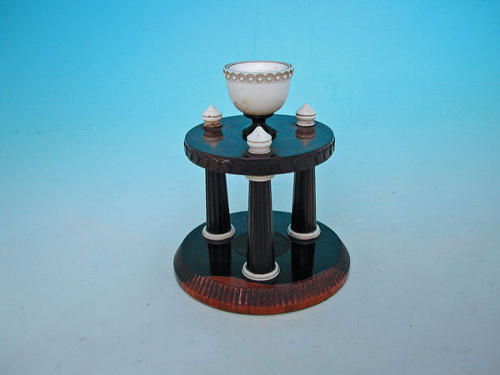 19thc Lignum Engine Turned Pin Holder.  English. C1860-80.