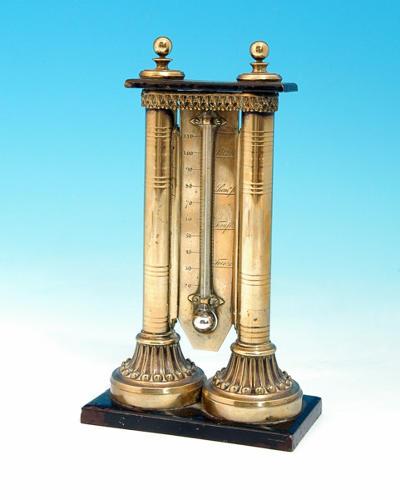 A rare 18thc Iron & Brass Desk Thermometer. English C1780 - 90