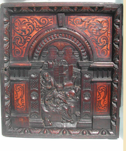 17thc Oak panel with a scene from