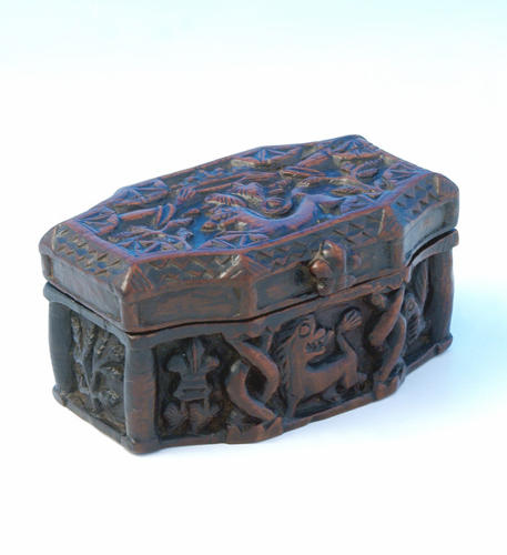 Late 18thc Fruitwood Snuff Box finely carved. Scottish C1780 - C1800