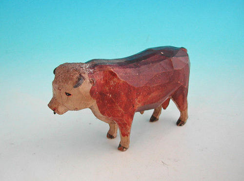 19thc Carved Hereford Bull.  English. C1840-60.