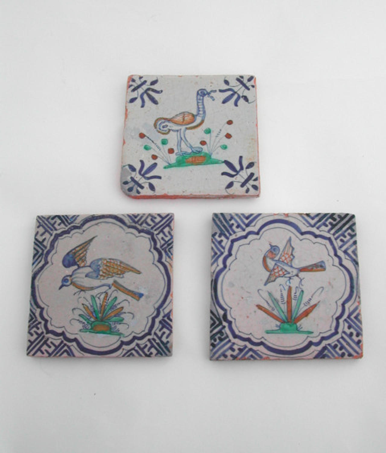 Three 16thc Polychrome Delft Tiles of painted birds. Dutch C1590