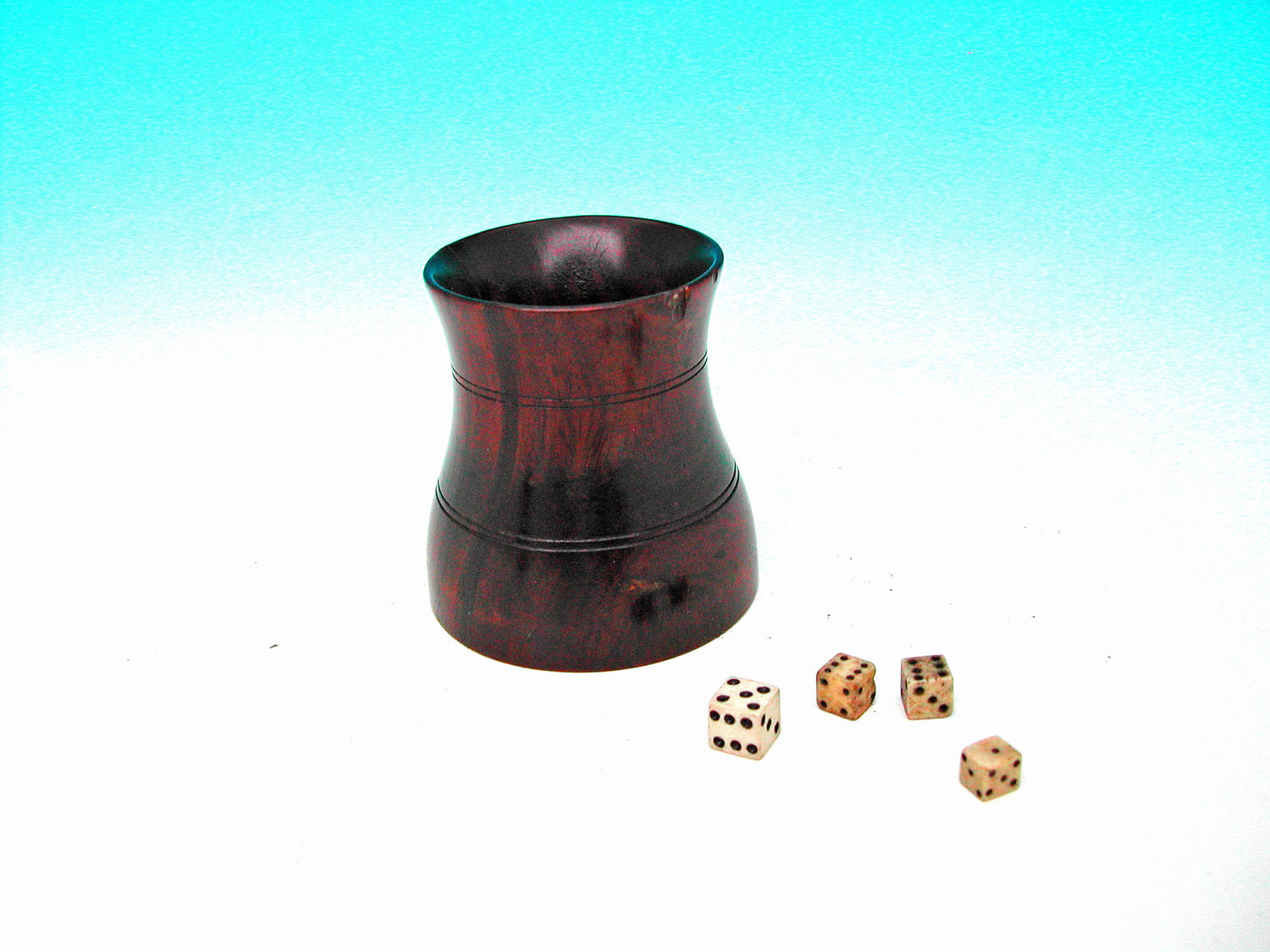 19thc Antique Treen Lignum Vitae Dice Shaker and Dice .  English  . C1