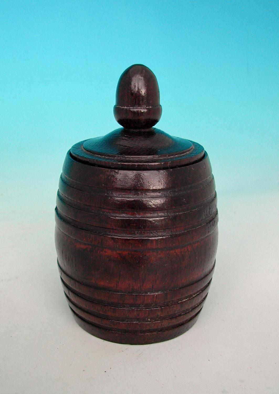 Antique Treen 19thc Oak Lidded Spice Jar . English.   C1840-60