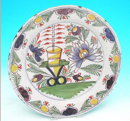 18thc Polychrome Delft Plate. Dutch C1770 - 80