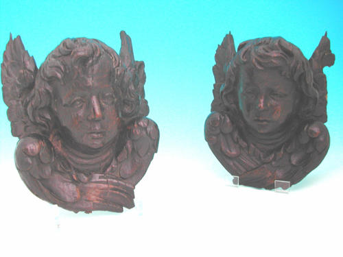 Pair of 17thc Oak winged Cherubs. Flemish C1660 - 80