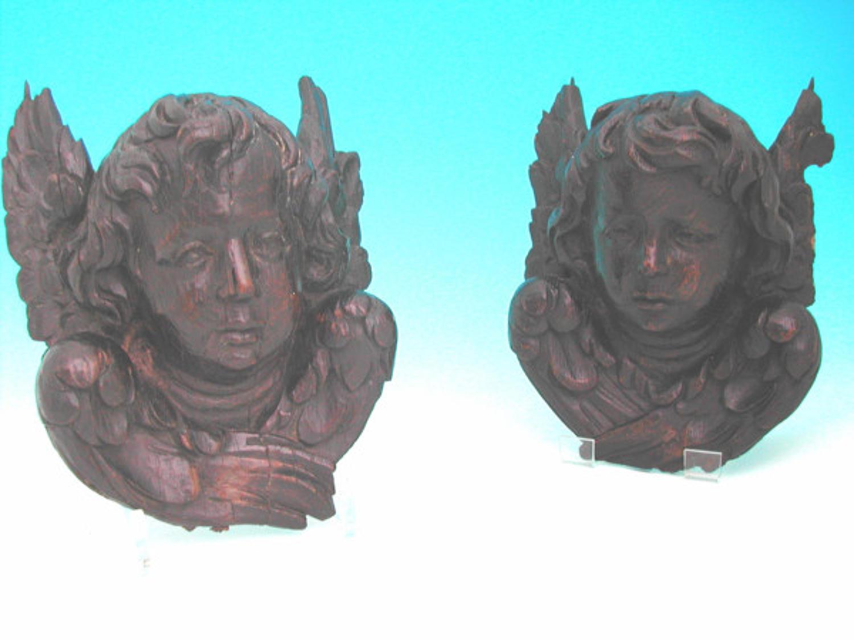 Pair of 17thc Oak winged Cherubs. Flemish C1660 - 80