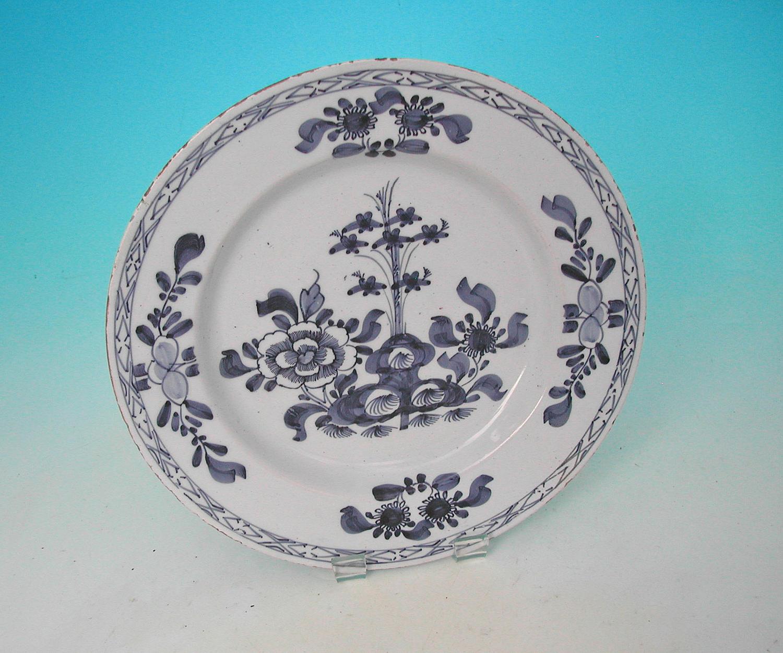 Antique 18thc Pottery Delftware Charger .  Dutch. C1740-60