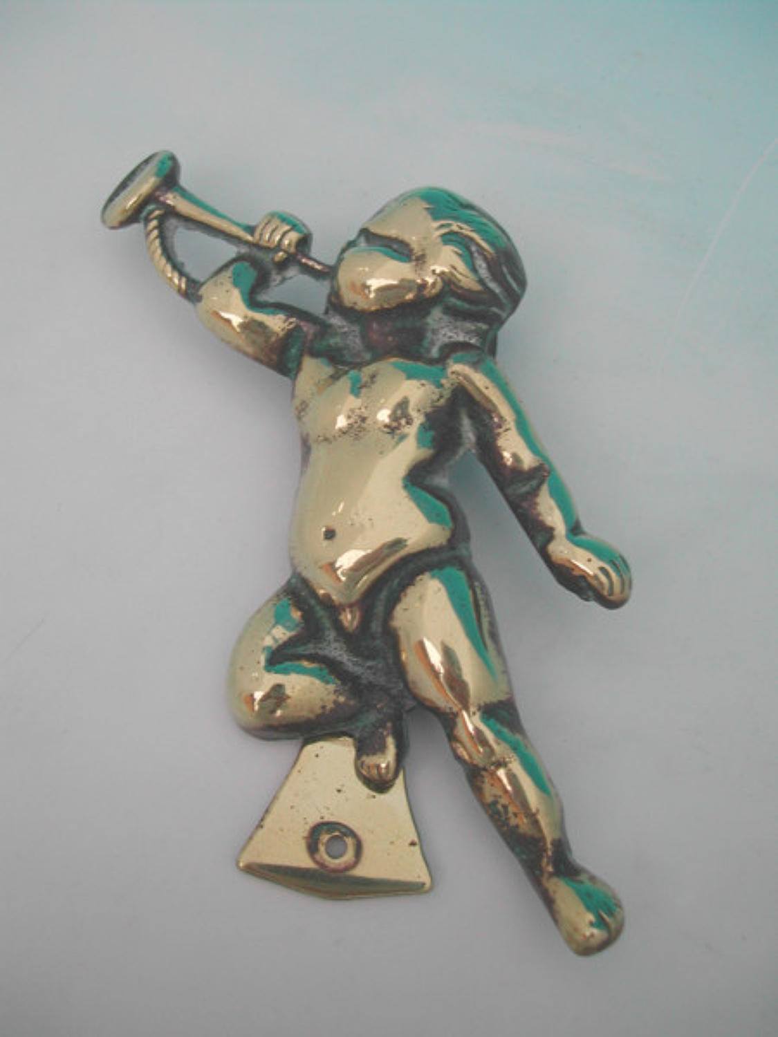 19thc Brass Cherub Door Knocker. English C1900