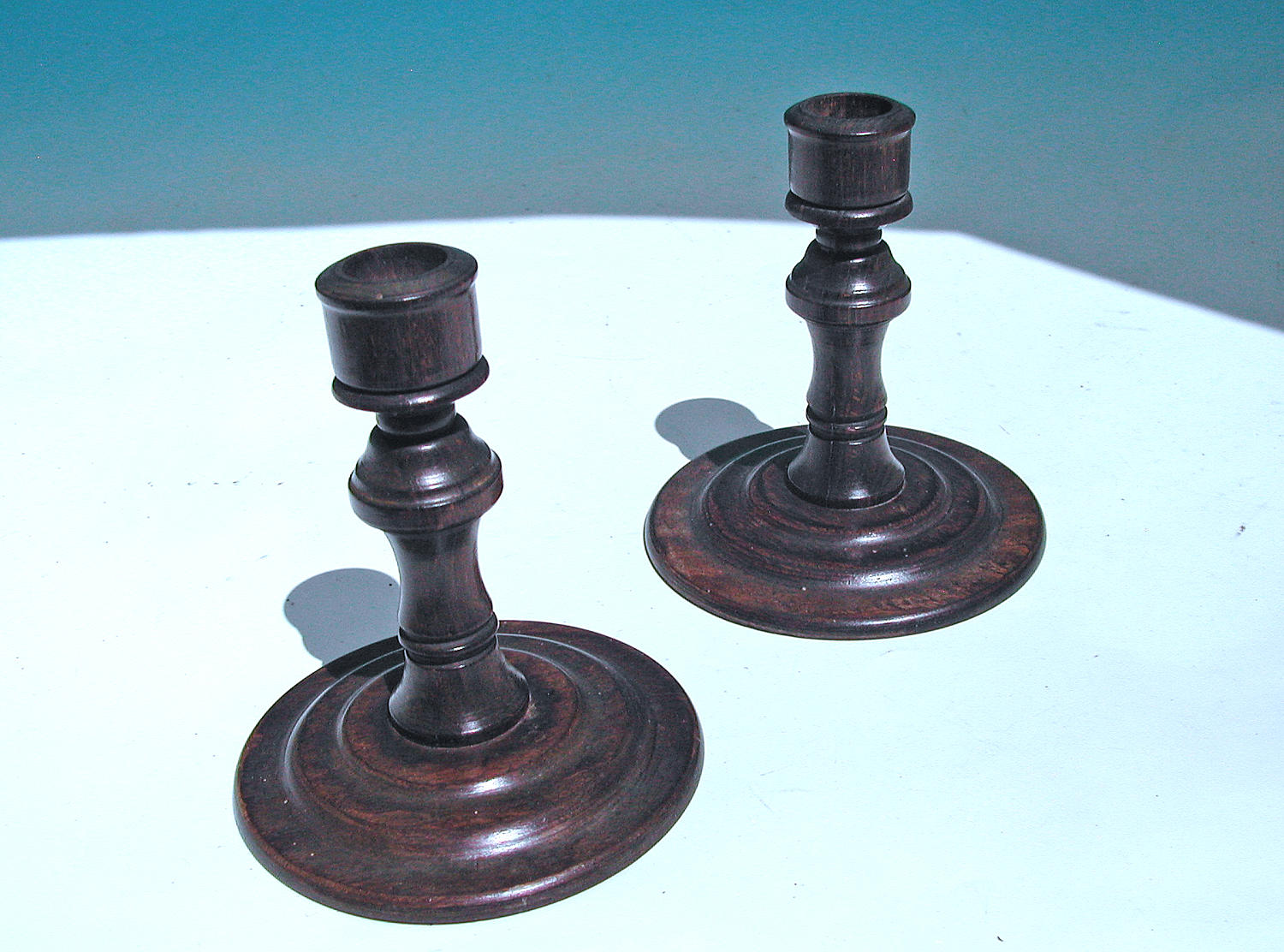 Antique Treen 19thc Pair of Rosewood Candlesticks.  English. C1840-60