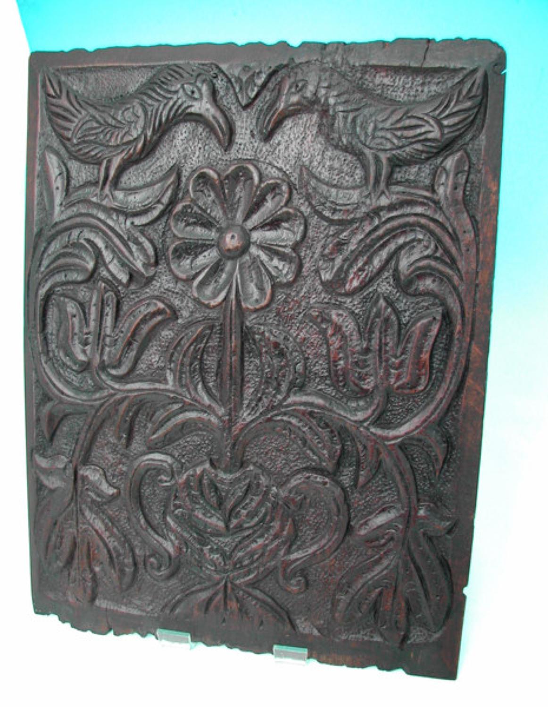 17thc English Oak Panel .   Lancashire, c. 1620 -40.